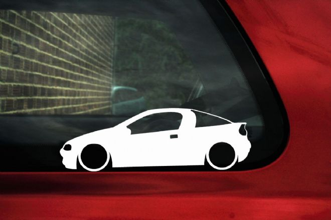 2x LOW Vauxhall / Opel Tigra A (1994–2000) Lowered silhouette stickers, Decals